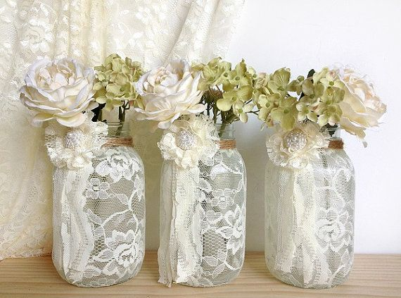 3 Ivory Lace Covered Jar Vases   Bridal Shower Decoration , Wedding Decor, Home  Decoration Gift Or For You
