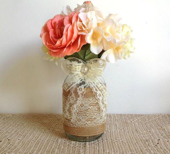 Burlap And Lace Covered Mason Jar Vases Wedding Decoration Bridal
