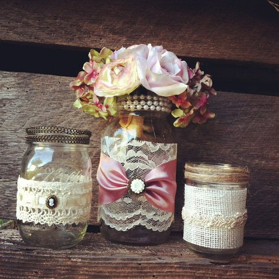 Burlap and lace mason jar vases vintage style lace mason jars burlap and lace mason jar vases vintage style lace mason jars wedding decorations mason jar home decor rustic chic vintage style mason jars junglespirit Gallery