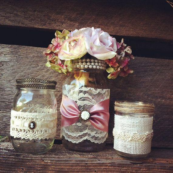 Burlap And Lace Mason Jar Vases Vintage Style Lace Mason Jars Wedding ...