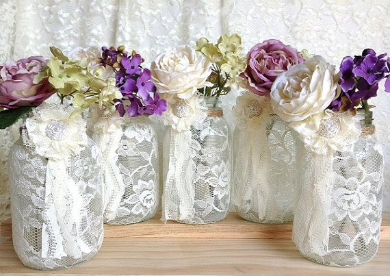 5 ivory lace covered jar - perfect for wedding decorations, bridal