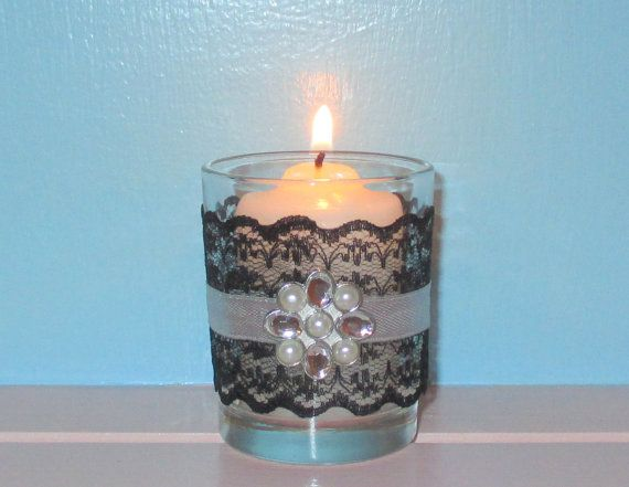 Votive Candle Holder Bling Wedding Decor Black And Silver