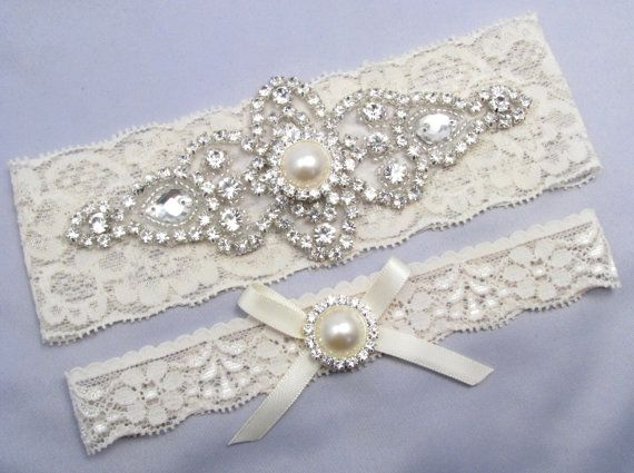 Ivory Bridal Garter Set Crystal Rhinestone Pearl Keepsake Toss Garters White Stretch Lace Wedding Love Forever