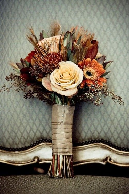 Wedding - Gorgeous Fall Wedding Bouquet - Love The Use Of Color And Texture.