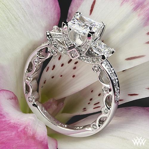 زفاف - البلاتين Verragio الخرزة-تعيين الأميرة 3 ستون خاتم الخطوبة