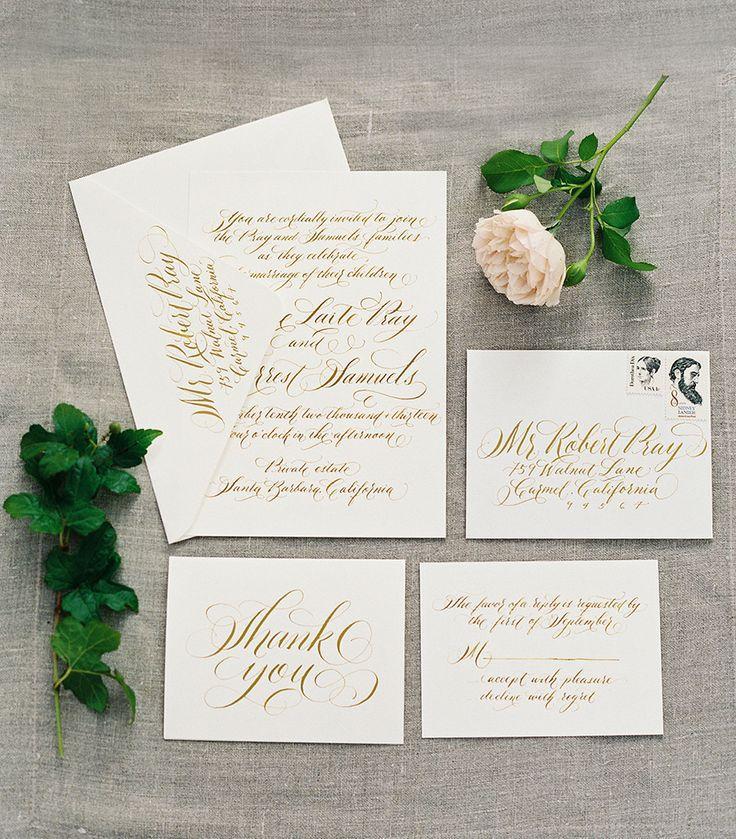Einladung Papier Gold