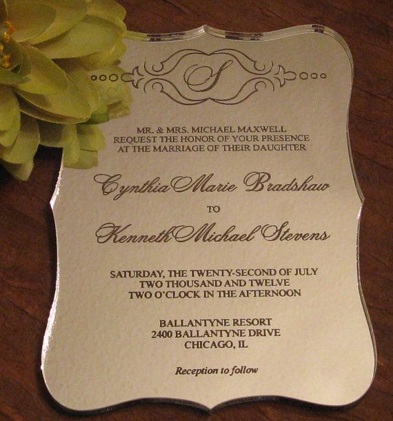 Hochzeit - Silver Mirror Acryl-Hochzeits-Einladungs-Probe