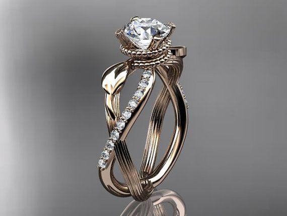 14kt Rose Gold Diamant Blatt Und Rebe Ehering