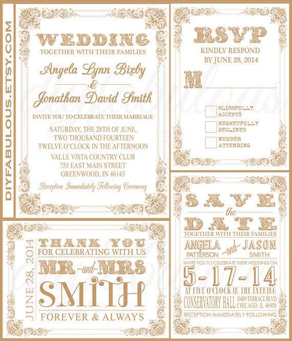 زفاف - وايت للطباعة والذهب دعوة زفاف DIY جناح الزفاف قابلة للطباعة مجموعة دعوة ستايل 8 WG