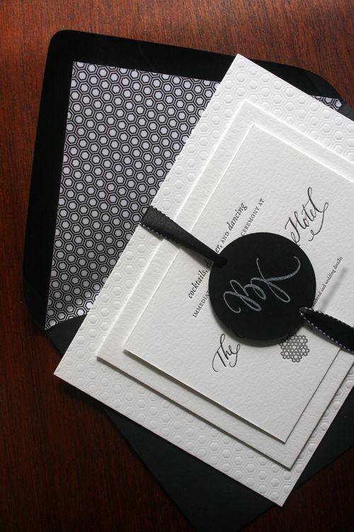 زفاف - كريستينا بروك الحديثة الأسود والأبيض دعوات الزفاف