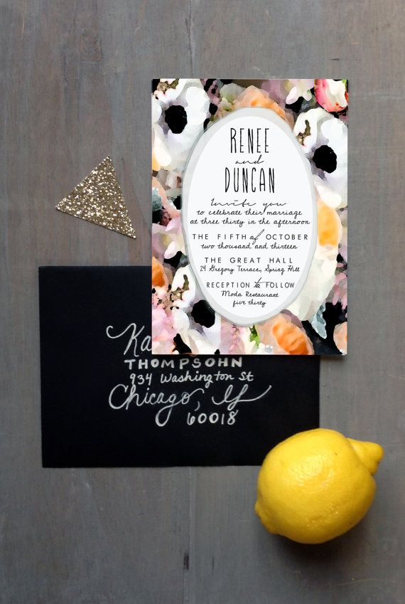 Boda - Watercolor Floral Invitation Set: Blush, Black, Gray, Peach, Purple