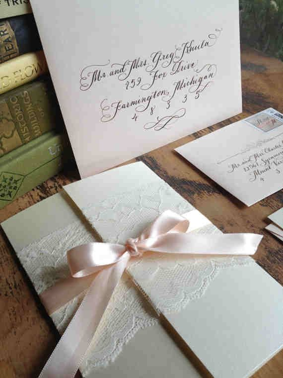 "زفاف - Calligraphy Wedding Invitation Gatefold With Vintage Lace And Ribbon , Love No. 3 ""Pemberly"""