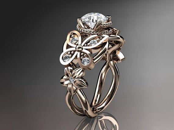14kt rose gold diamant blumen schmetterlings hochzeits ring verlobungsring ehe band adlr136. Black Bedroom Furniture Sets. Home Design Ideas
