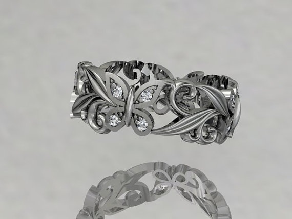 butterfly ring shape of engagement heart diamond rings wedding vintage