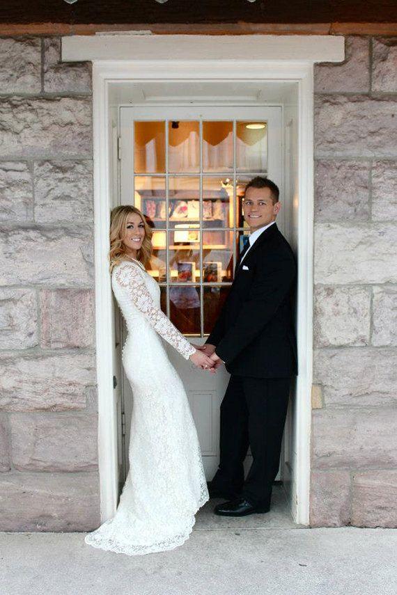 زفاف - الدانتيل ثوب الزفاف مع الأكمام طول كامل وغطت العودة، تفصيل فستان الزفاف