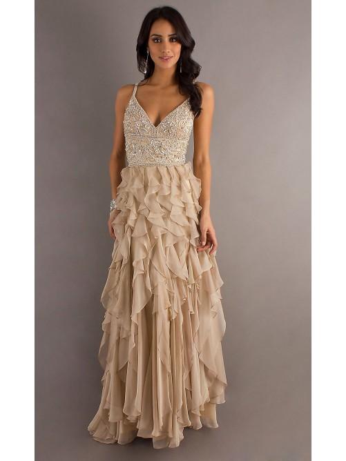 Mariage - Sexy Shealth-Column Spaghetti Straps Ruffled Dress