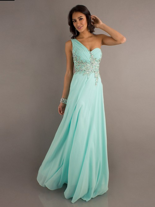 Wedding - Chiffon A-line Applique One Shoulder Prom Gown with Sheer Back