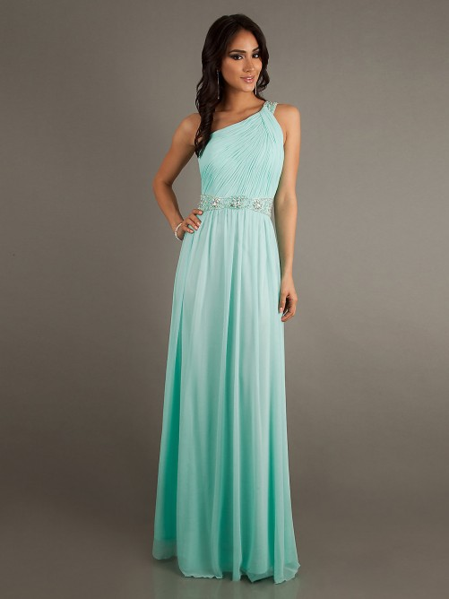 Chiffon Temptation A Line Lique One Shoulder Prom Dress