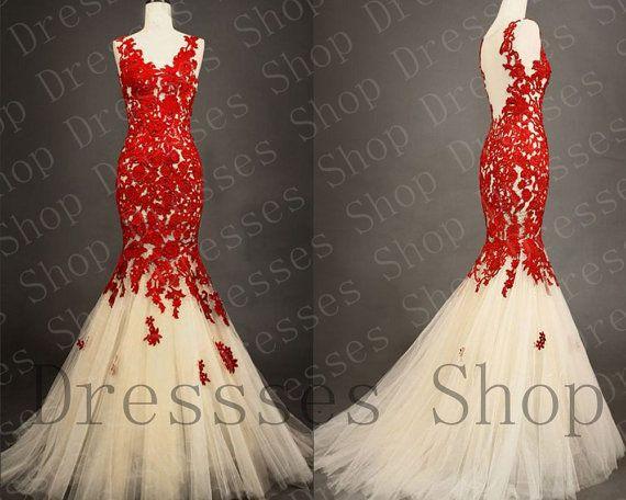 Свадьба - Кружева Платья Выпускного Вечера Красным Кружевом Платье Свадебное Платье Вечернее Невесты Вечернее Платье,