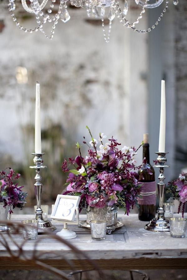 Purple wedding rustic and elegant tablescape