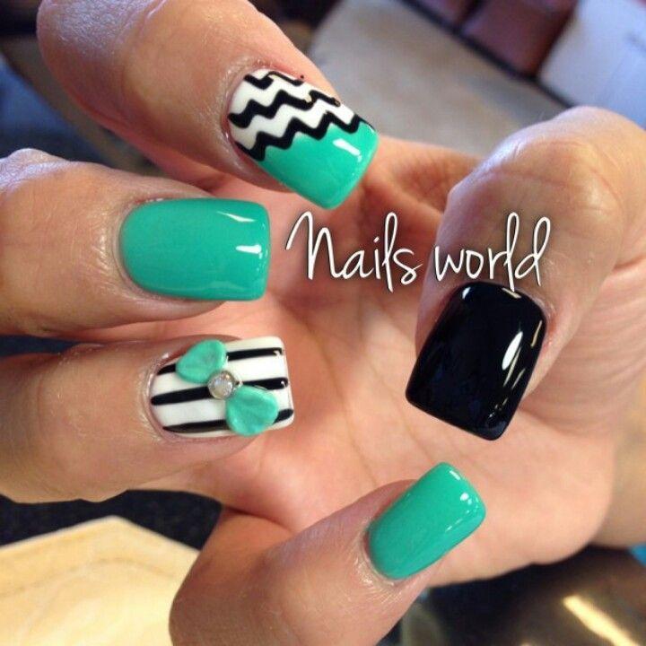 Mint Wedding - Mint & Black Nails ♡ #2051120 - Weddbook