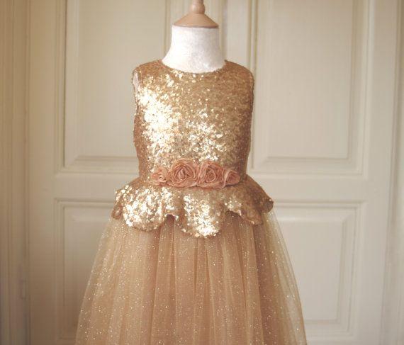 Amber Gold Flower Girl Dress Wedding Bridesmaid Communion Christmas Vintage Sparkle Tulle Sequin