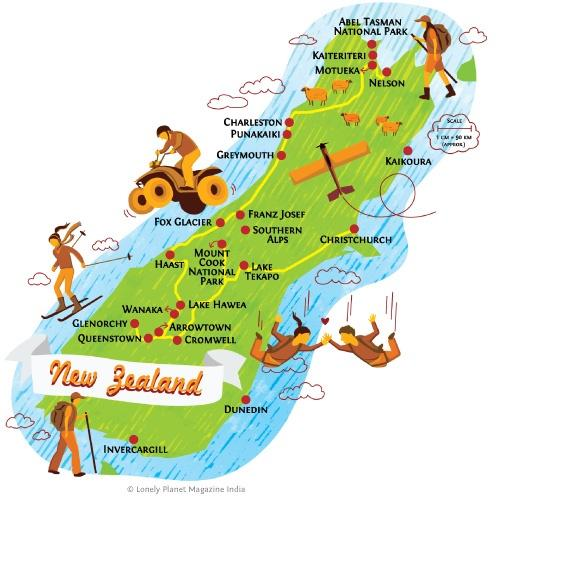 South Island Map Of New Zealand.Honeymoon New Zealand South Island Map 2051373 Weddbook