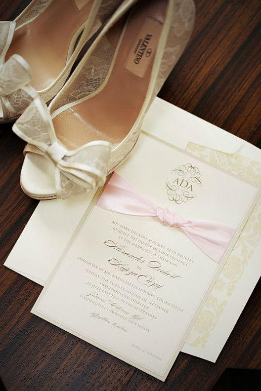 Wedding - Wedding card with bridal shoes using same color combination.