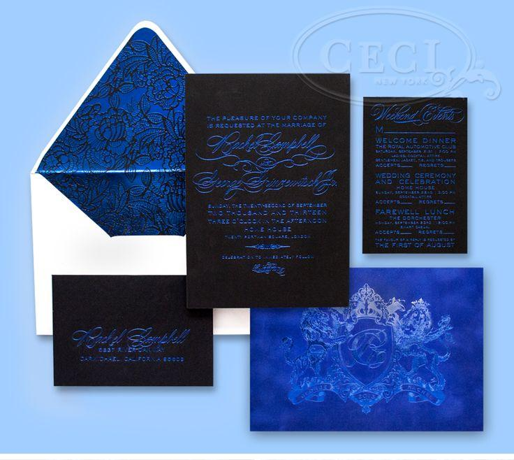 زفاف - الأزرق الكهربائية دعوة زفاف جناح