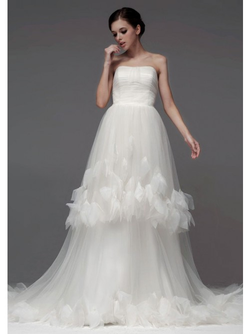 Wedding - A-Line Strapless Chapel Trailing Tulle With Flowers Wedding Dresses