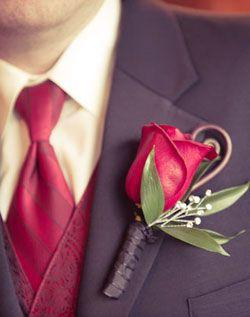 Свадьба - Красная Роза Бутоньерка