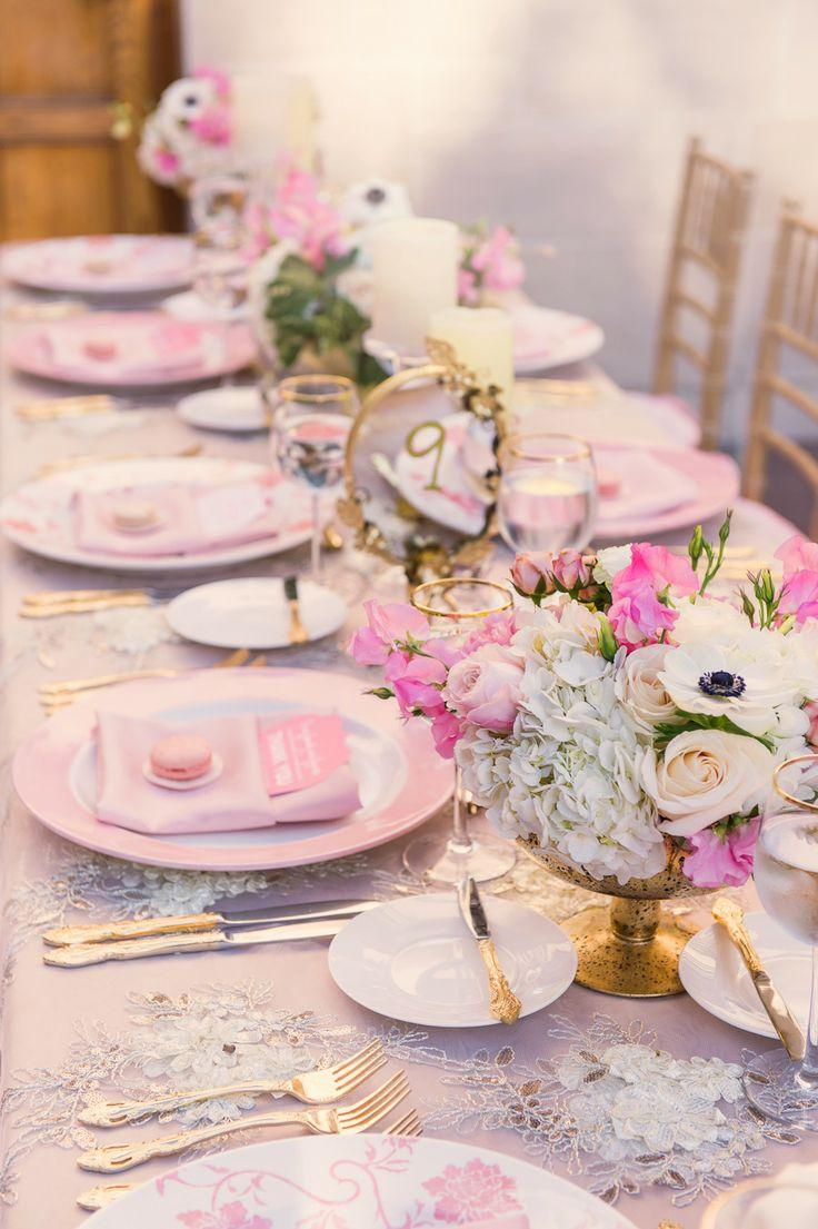 Wedding Dinner Venue With Pink And White-colored Theme. #2051709 ...