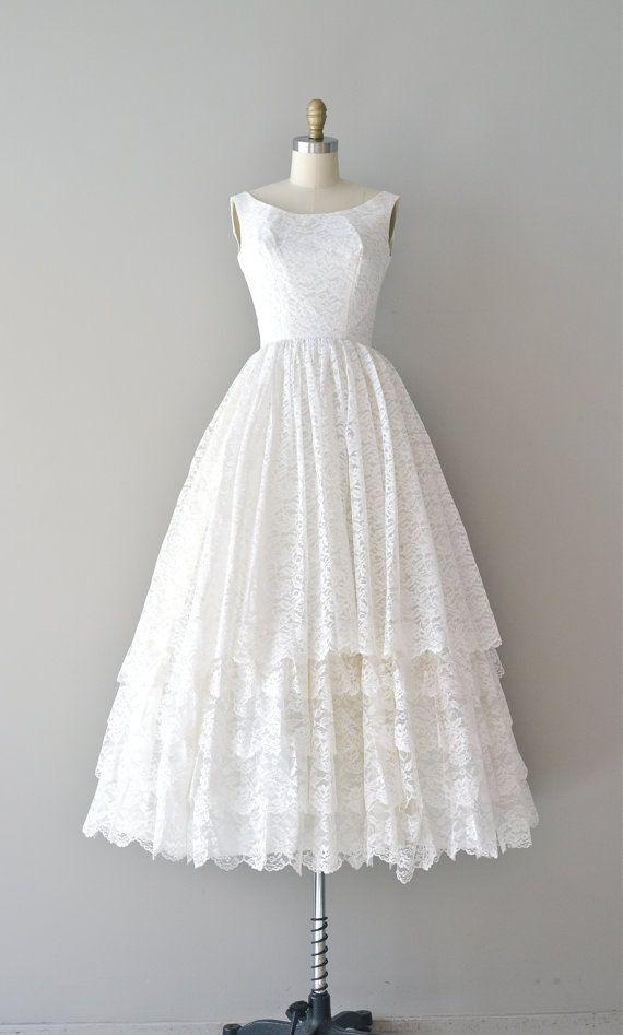 Lace 1950er Jahren Kleid / Vintage 50er Brautkleid / You Send Me ...