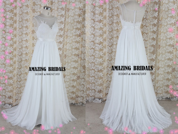 A Line Tulle Simple Wedding Dresses With Beading Off The: Simple Feminine Tulle Lace Wedding Dress, Wedding Gown