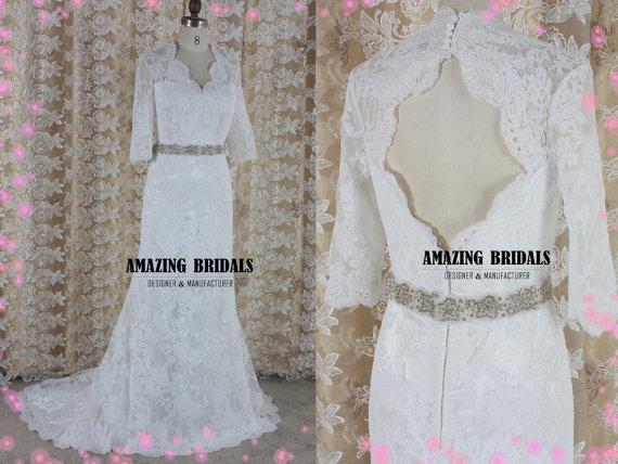 Wedding - Keyhole back Alencon lace wedding dress-Open back Alencon lace wedding gown- lace wedding dress