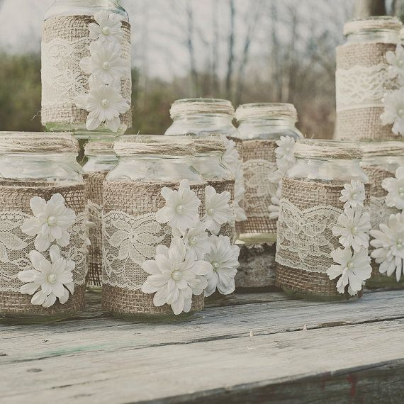 diy burlap and lace mason jar fits 24 oz mason jars lace and burlap wedding rustic wedding. Black Bedroom Furniture Sets. Home Design Ideas