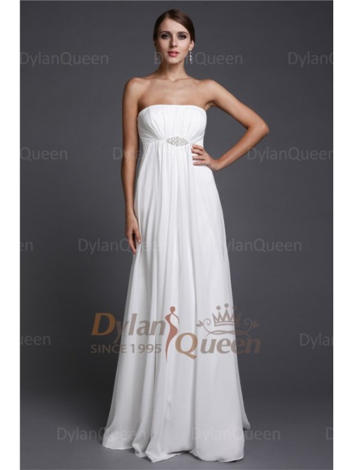 Wedding - Elegant A-Line/Princess Strapless Sleeveless Beading Floor-length Chiffon Bridesmaid Dresses Dylan Queen