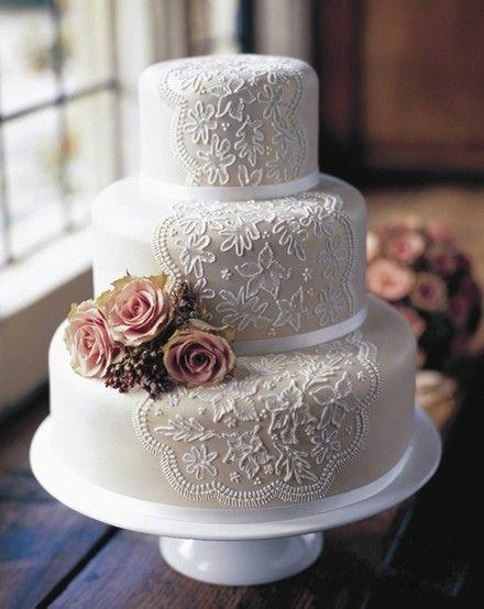 Modern Wedding Lace Wedding Cake 2054122 Weddbook