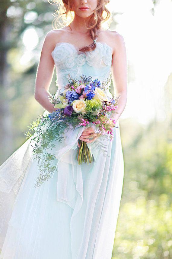 Свадьба - Запутавшись В Голубой Шелковой Органзы Свадебное Платье