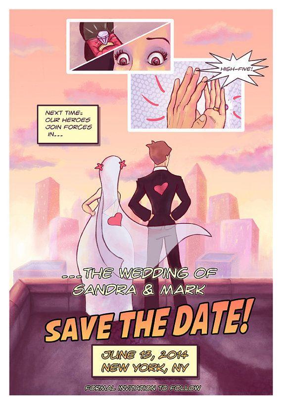 Comic Buch Art Abwehr Das Datum Nerdy / Geeky Hochzeit Einladen  Superhero Hochzeits Thema DIY Druck Einladung