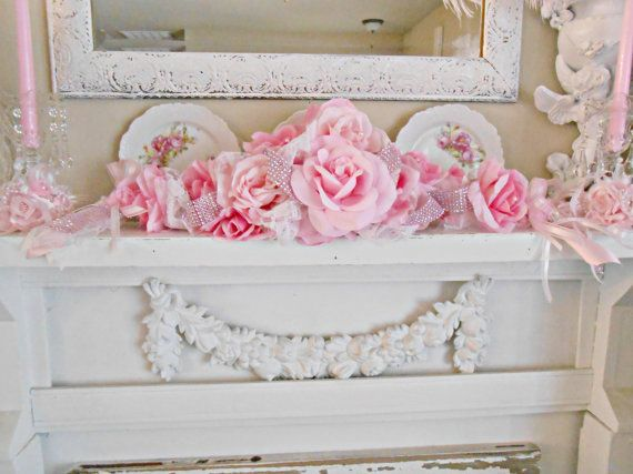 Victorian pink princess rose swag table centerpiece bridal for Table de noel shabby chic