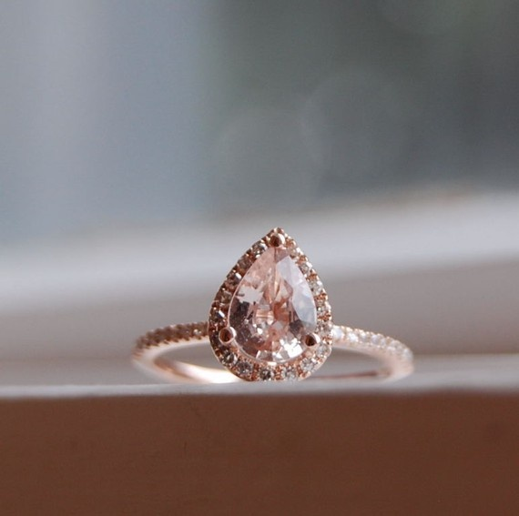 Peach Champagne Tear Drop Sapphire And Rose Gold Diamond Ring on Hold 1st Pay