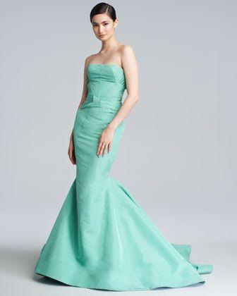 Tiffany Blaue Hochzeits- - Zac Posen Silk Faille Nixe-Kleid #2054381 ...