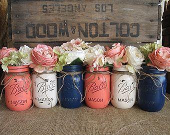 jarrones flor pintada a mano jarrones upcycled floreros rstico boda centros de mesa elegante lamentable azul marino marrn