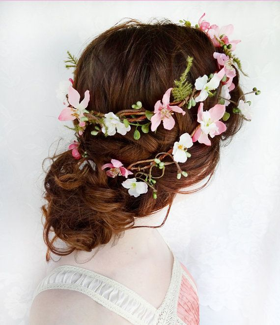 Bridal Flower Wreath For Hair : Rustic wedding hair wreath woodland headpiece pink