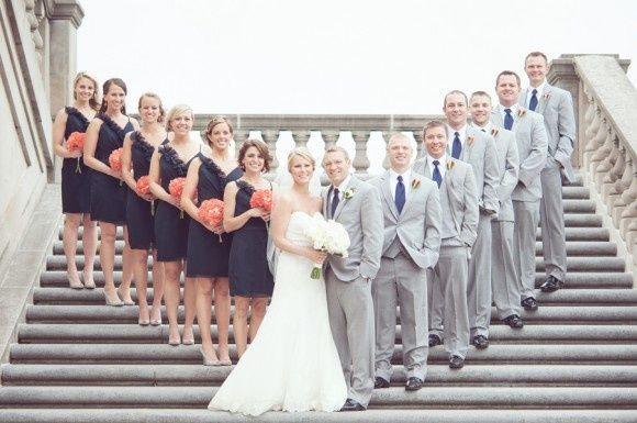 Navy Wedding - Navy Bridesmaids And Grey Suits #2054510 - Weddbook