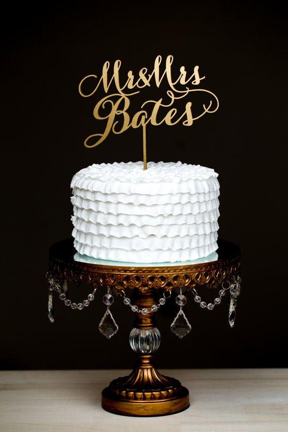 Wedding Cake Topper   Custom Last Name   Gold