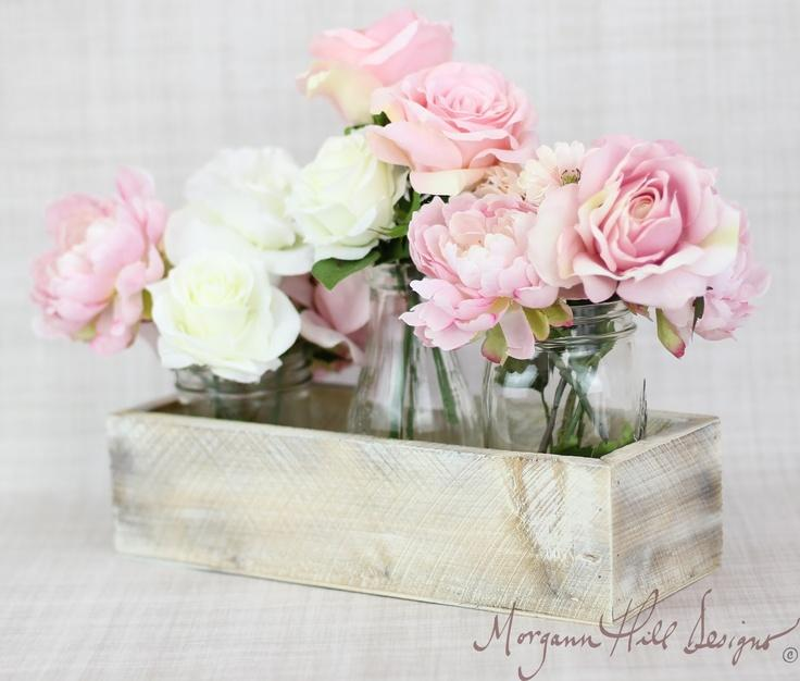 Wedding - Planter Box Centerpiece Vase Shabby Chic