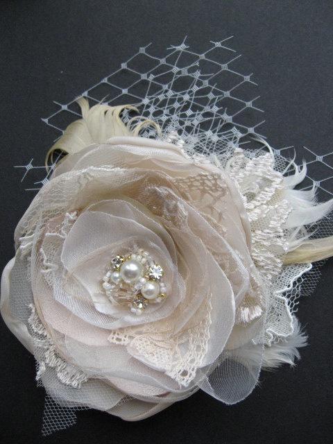 Vintage Wedding Fascinator Brautblumen Haarteil Leinwand Rustic