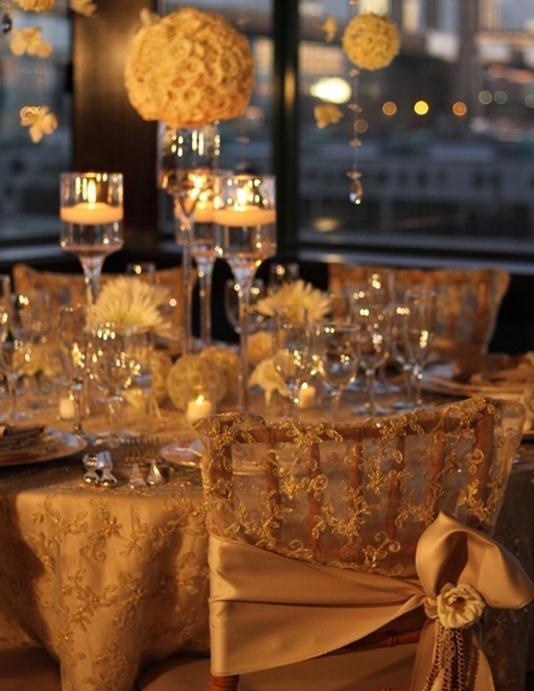 Gold Lace Table Decor